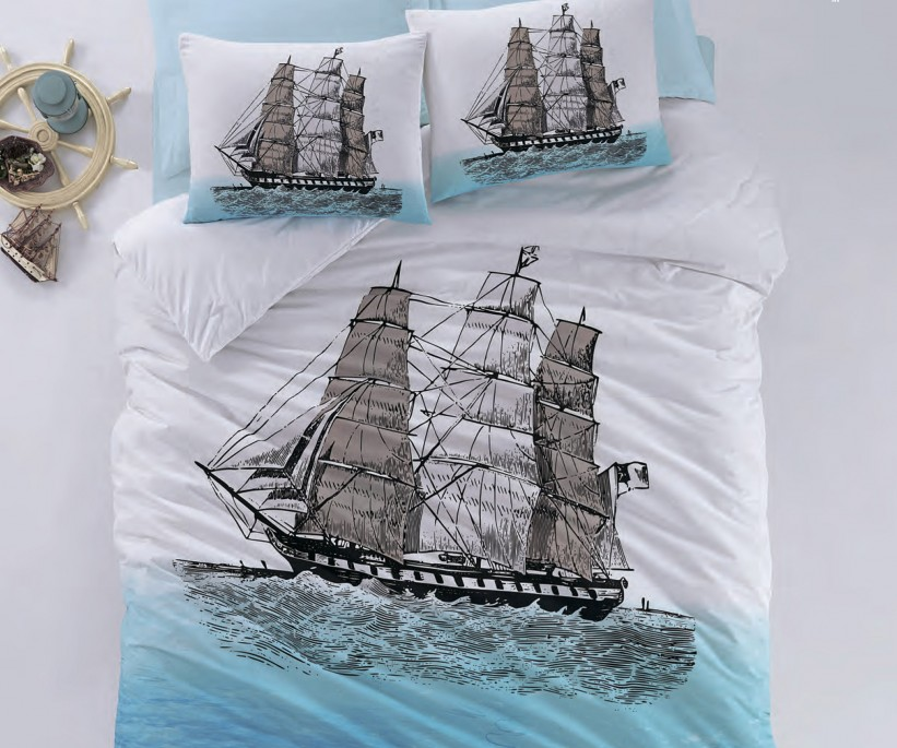 Комплект Постельного Белья ЕВРО Ранфорс Maritime Ranforce Ship - cotton box