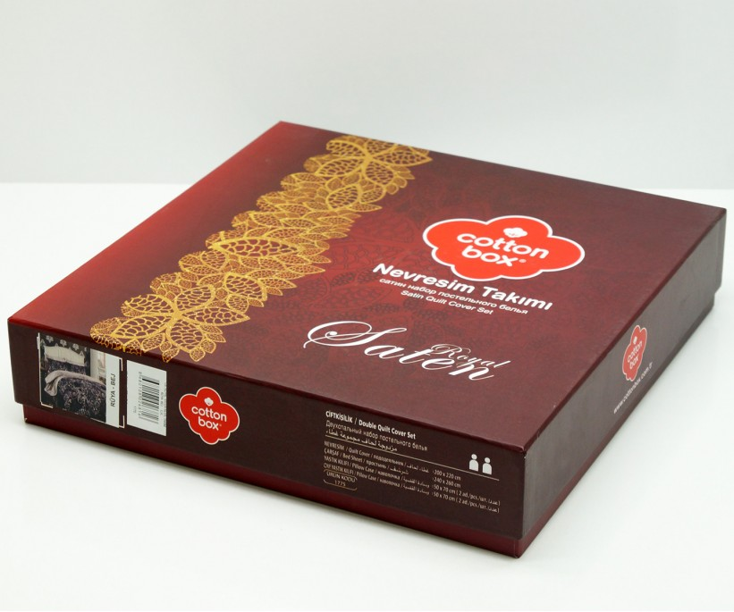 Комплект Постельного Белья Евро 2 сп. Сатин Luisa Pudra Saten Line cotton box