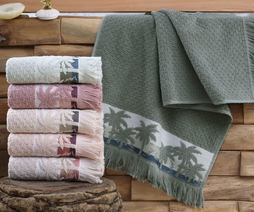 Махровые Лицевые Полотенца с Бахромой 50x90 см. 6 шт/уп. Cotton PALMIYE - Sikel