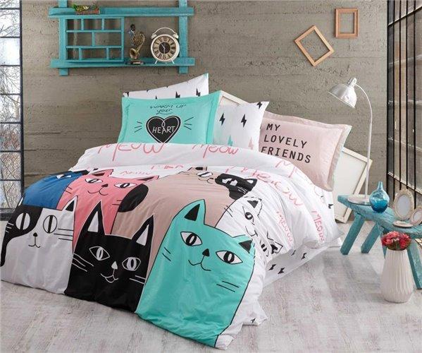 Комплект Постельного Белья Love Cats Pembe Hobby Home Collection оптом