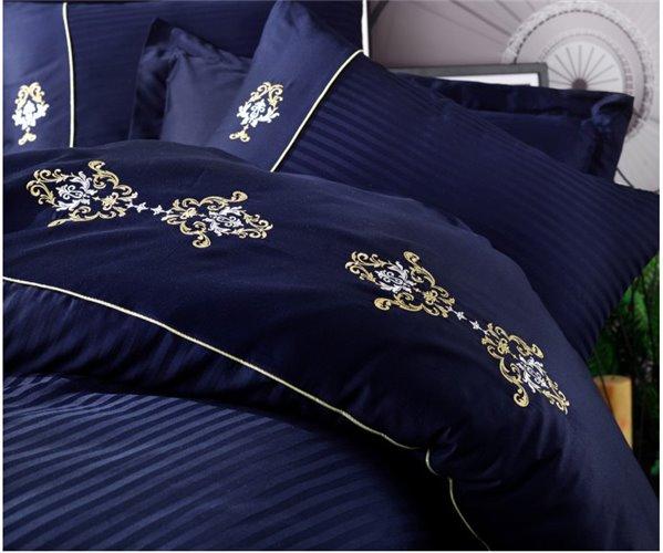 Комплект Постельного Белья с Вышивками Евро 2 сп. Сатин Brode Saten - cotton box