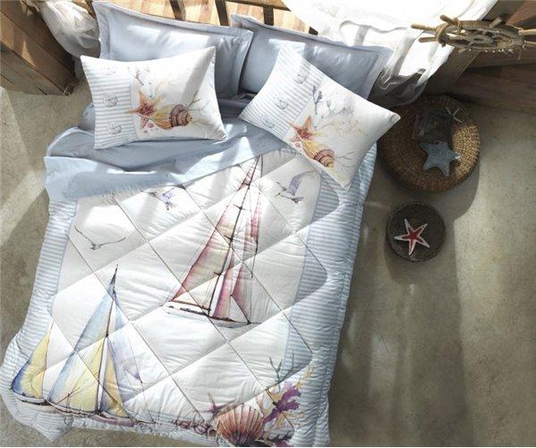 1 сп. Комплект Постельного Белья с Одеялом Ranforce MARITIME Uyku Seti - cotton box