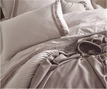 Постельное Белье Евро 2 сп. Ранфорс + Покрывало Вафельное Nature Pique Set - Cotton box