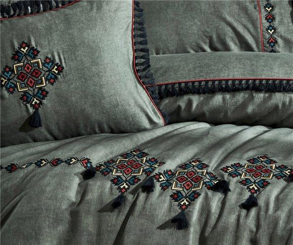 2 сп. Евро Комплект Постельного Белья Cotton Saten Anka Yeşil Çift - EcoCotton