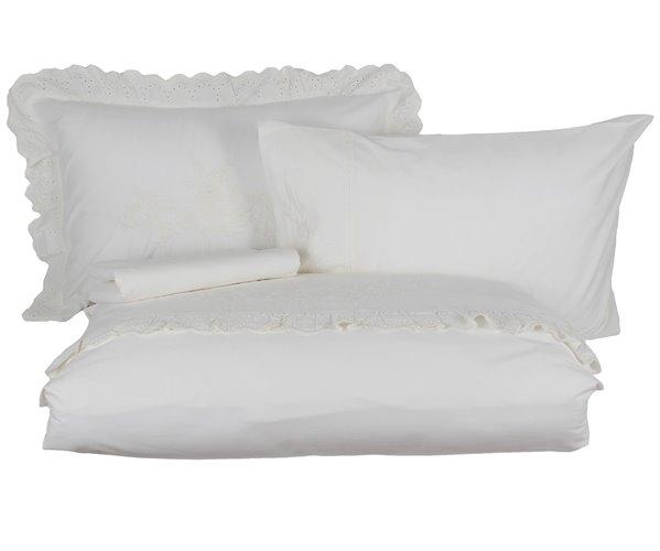 2 сп. Евро Комплект Постельного Белья Cotton Saten Elsa Krem XL - EcoCotton