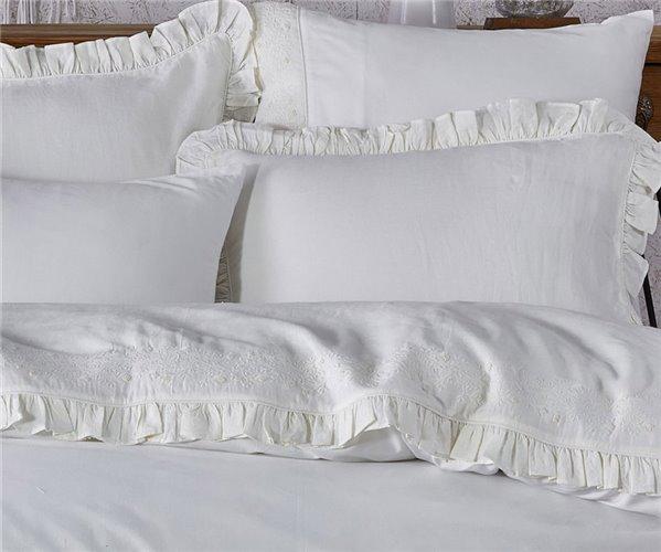 2 сп. Евро Комплект Постельного Белья Cotton Saten Pietra Krem XL - EcoCotton