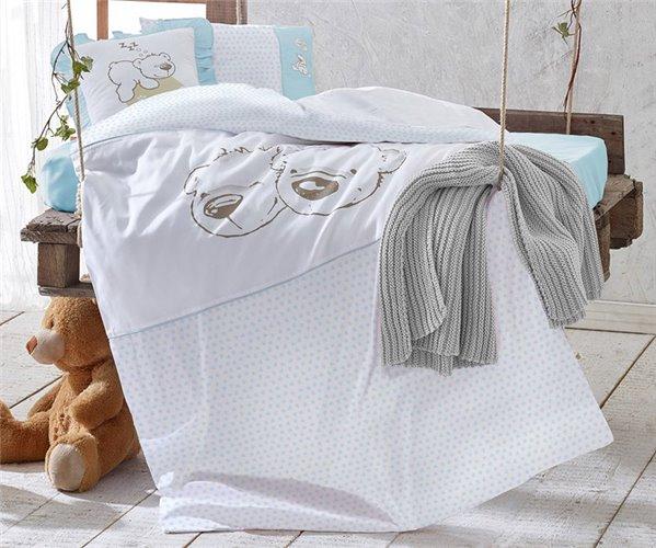 Бамбуковое постельное белье для новорожденных Twinbears Blue Nevresim - EcoCotton