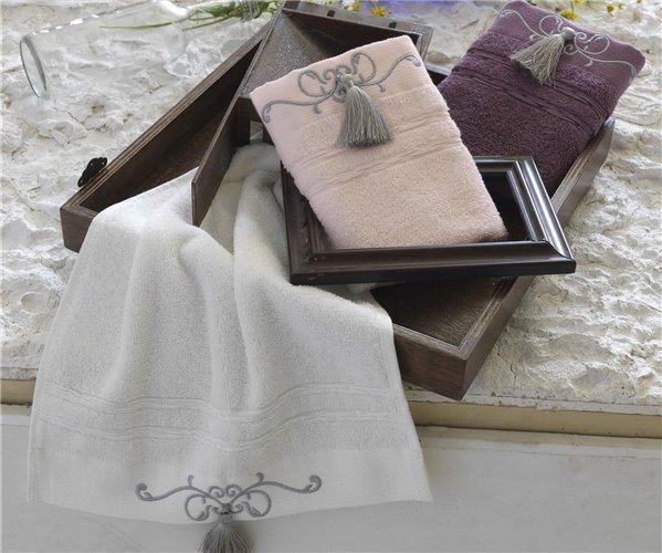 Махровые Полотенца с Вышивкой 30x50 см 3 шт/уп Candy Kahve - EcoCotton