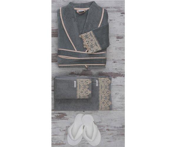 Подарочный Набор Халат + Полотенце + Тапочки (XL) Azra Yeşil Bayan Bornoz Seti - Xlarge- EcoCotton