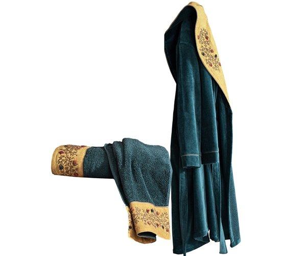 Подарочный Набор Халат + Полотенце + Тапочки (XL) Pietra Yeşil Bayan Bornoz Seti - Xlarge- EcoCotton