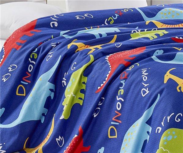 Покрывало-Плед Вафельное 200x235 см Doğal Pike Baskılı Çift Kişilik Dinazorus Mavi