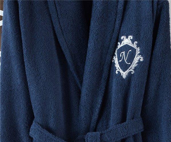 Подарочный Набор Халат (Standart) + Полотенце Lotus Erkek %100 Organik Pamuk Bornoz Set - Royal Nazik