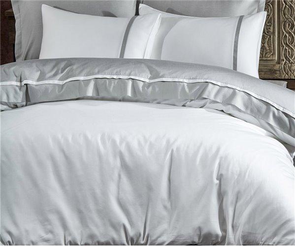 2 сп. Евро Комплект Постельного Белья Сатин Cotton Saten New Basic Gri XL - EcoCotton