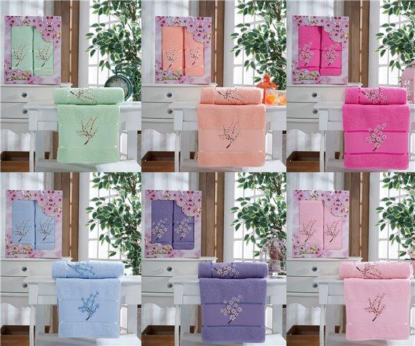 Набор Махровых Полотенец 2 шт/уп. 50x90 см. + 70x140 см. *Ассорти 7 расцветок* Sakura - DNZ