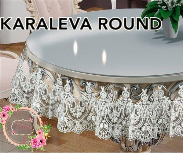 Скатерть Круглая Karaleva Round Oval 175x175 см Sifat Silicon - Zelal