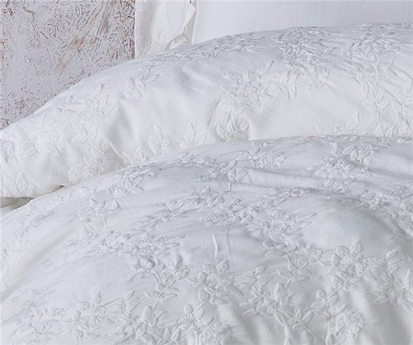 2 сп. Евро Комплект Постельного Белья Cotton Saten Novella Krem XL - EcoCotton