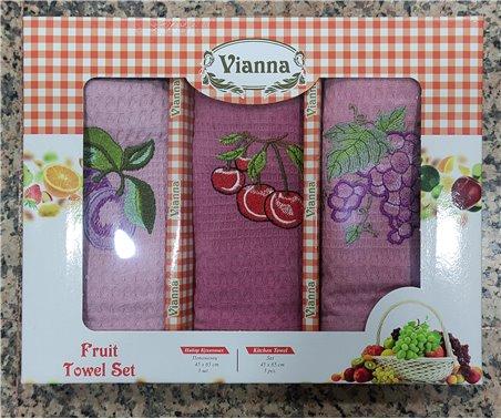 45x65 см 3 шт/уп Вафельныe Полотенца с Вышивкой Fruit Towel Set Vianna - ByTem