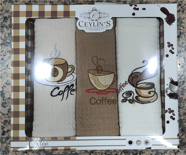 45x65 см 3 шт/уп Вафельныe Полотенца с Вышивкой Olive Ceylin's - ByTem