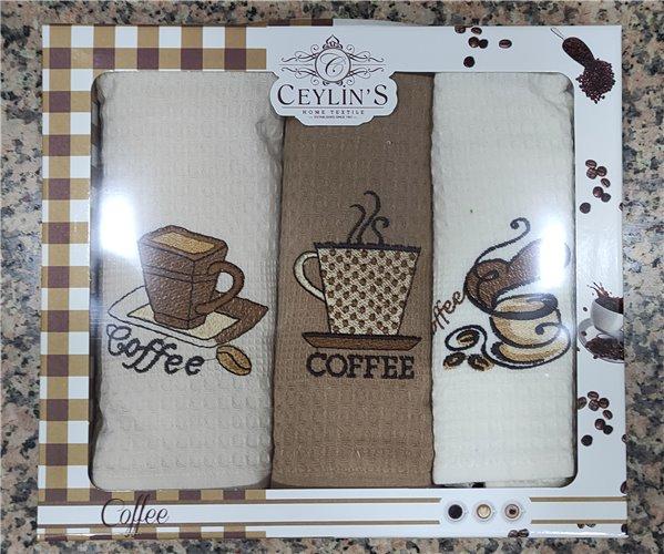 45x65 см 3 шт/уп Вафельныe Полотенца с Вышивкой Coffee Ceylin's - ByTem