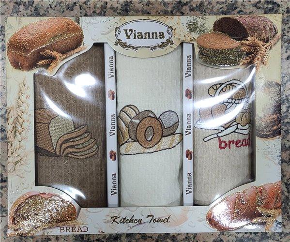 45x65 см 3 шт/уп Вафельныe Полотенца с Вышивкой Bread Vianna - ByTem