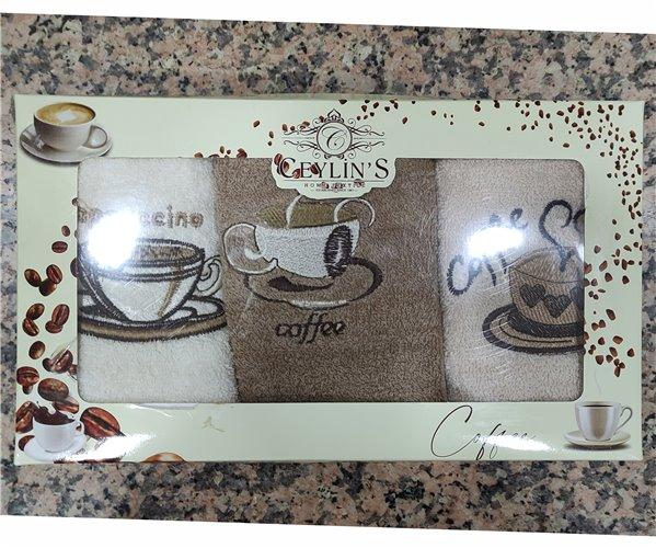 30x50 см 3 шт/уп Махровые Полотенца с Вышивкой Coffee Ceylin's - ByTem