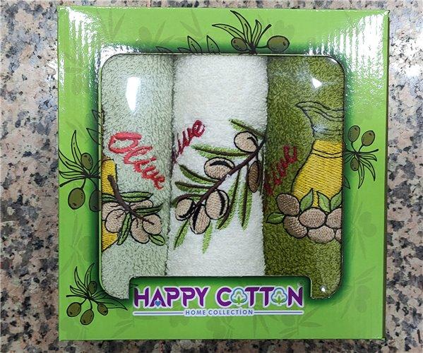 30x50 см 3 шт/уп Махровые Полотенца с Вышивкой Happy Cotton - ByTem