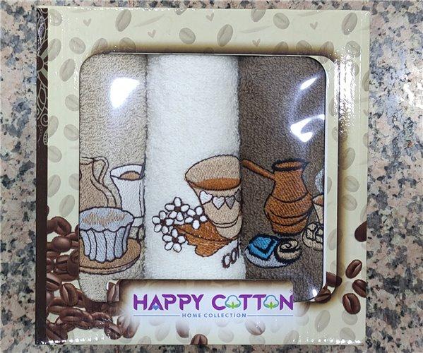 30x50 см 3 шт/уп Махровые Полотенца с Вышивкой Olive Happy Cotton - ByTem