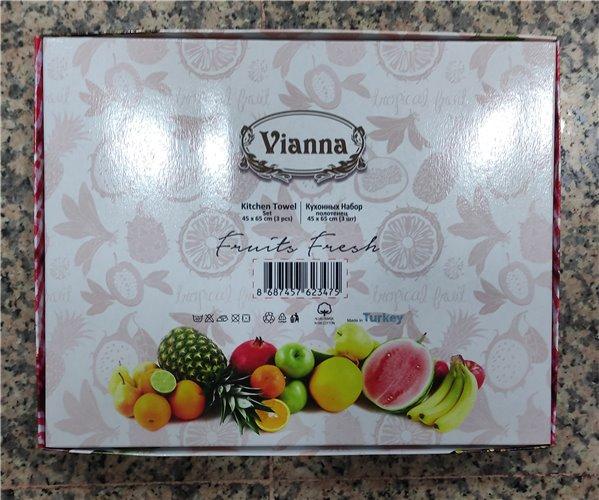 45x65 см 3 шт/уп Вафельныe Полотенца с Вышивкой Fruit Vianna - ByTem