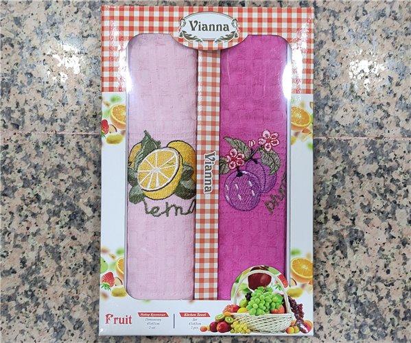 45x65 см 2 шт/уп Вафельныe Полотенца с Вышивкой Olive Vianna - ByTem