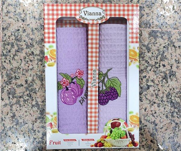 45x65 см 2 шт/уп Вафельныe Полотенца с Вышивкой Fruit Vianna - ByTem