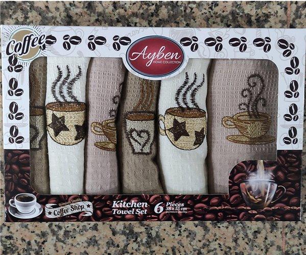 38x55 см 6 шт/уп Вафельныe Полотенца с Вышивкой Coffee Ayben - ByTem
