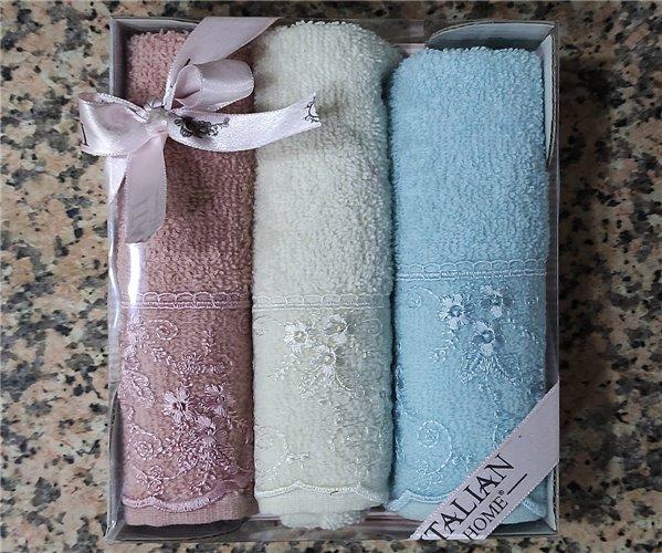 30x50 см 3 шт/уп Махровыe Полотенца с Вышивкой Lavender Freecoton - ByTem