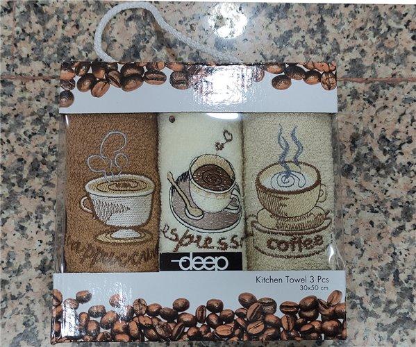 30x50 см 3 шт/уп. Махровые Полотенца с Вышивкой  Coffee Deep - ByTem