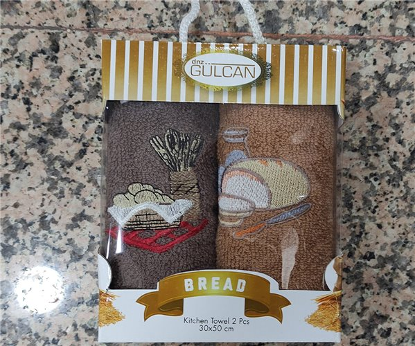 30x50 см 2 шт/уп. Махровые Полотенца с Вышивкой  Bread - DNZ