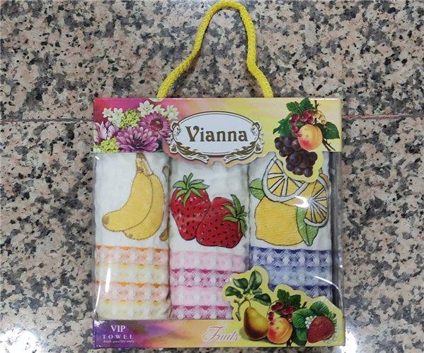 35x50 см 3 шт/уп. Вафельные Кухонные Полотенца Салфетки Fruits Vianna - ByTem