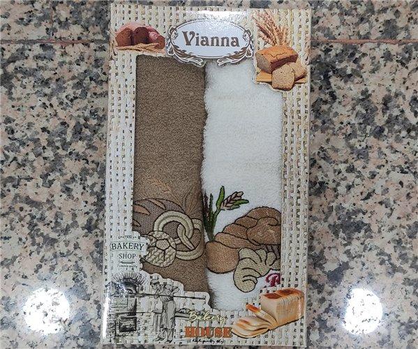 30x50 см 2 шт/уп. Махровые Полотенца с Вышивкой Coffee Vianna - ByTem