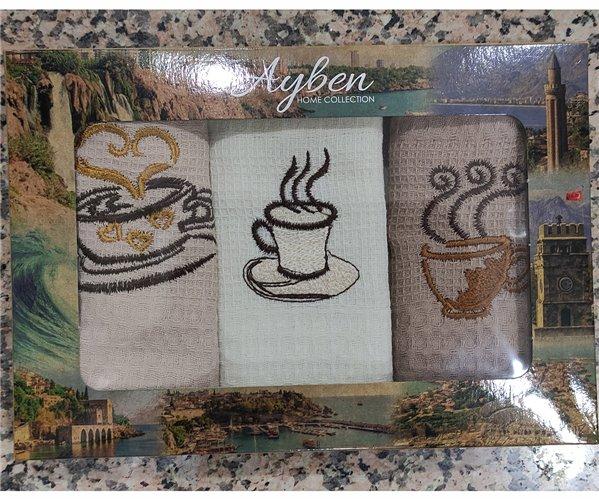 38x55 см 3 шт/уп Вафельныe Полотенца с Вышивкой Coffee Ayben - ByTem