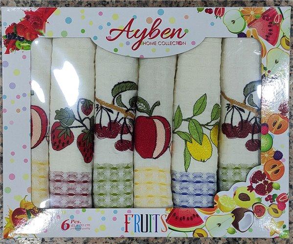 Кухонные Полотенца Салфетки 45x70 см 6 шт/уп Fruits Ayben - ByTem