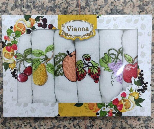 45x65 см 6 шт/уп Вафельныe Полотенца с Вышивкой Fruits Vianna - ByTem