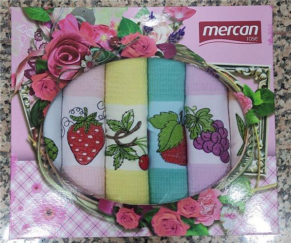 Кухонные Вафельные Полотенца с Вышивкой 50x70 см 6 шт/уп Fruits - Mercan Rose