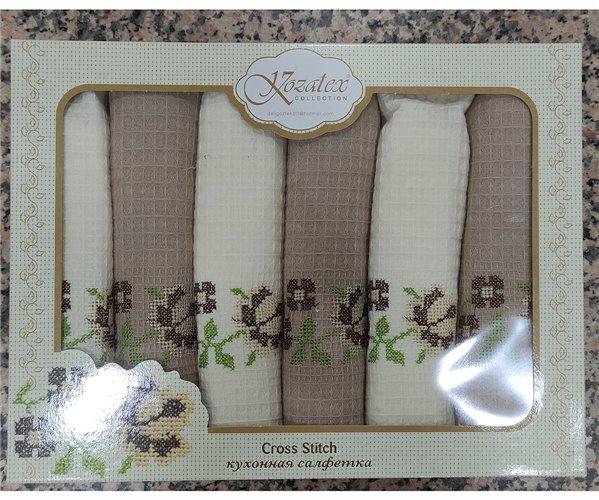 Кухонные Вафельные Полотенца с Вышивкой 50x70 см 6 шт/уп Cross Stitch - ByTem