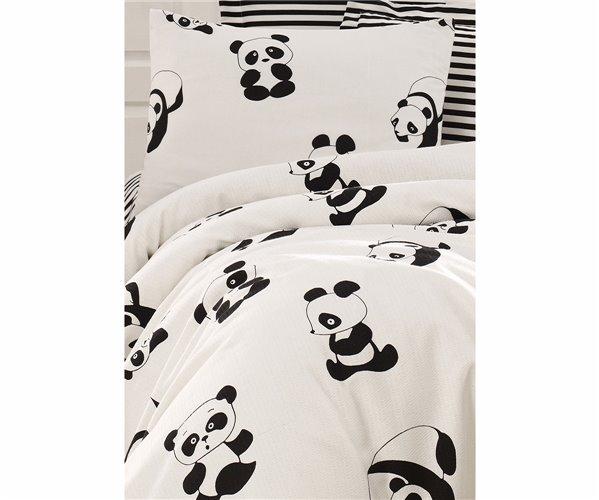 1 сп. Покрывало-Плед Вафельное 160x235 см С Наволочкой Pike Seti Baskılı Tek Kişilik Panda Siyah-Beyaz