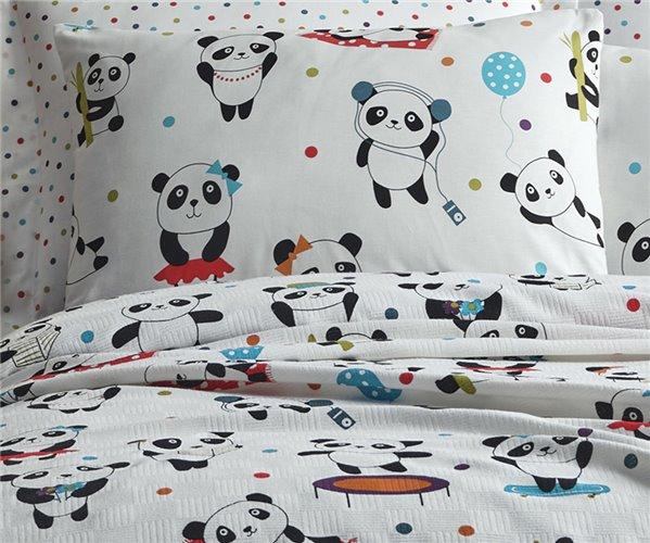 2 сп. Евро 200x235 см Покрывало Вафельное с Наволочками Pike Seti Çift Kişilik Baskılı Love Pandas Beyaz