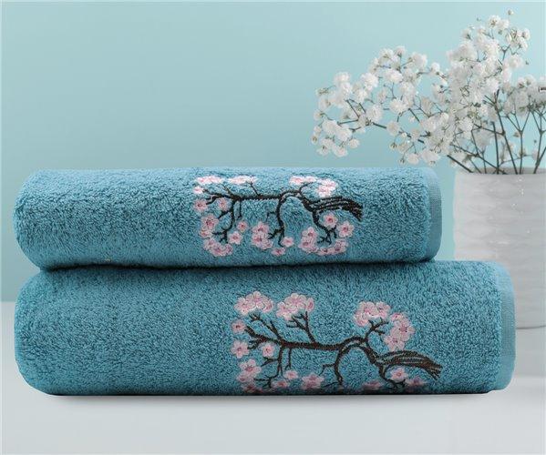70x140см + 50x90см Soft Махровый Набор Полотенец 2 шт/уп. Flower Hamam Seti Mavi