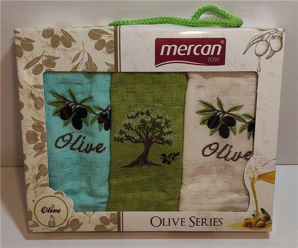 Махровые Полотенца с Вышивкой 30x50 см 3 шт/уп Olive Series Mercan