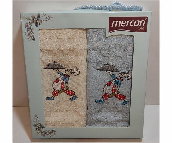 Вафельные Полотенца с Вышивкой 30x50 см 2 шт/уп - Mercan