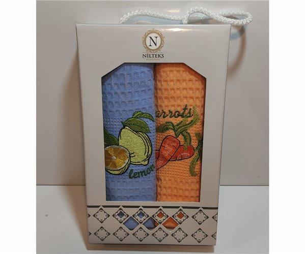 Вафельные Полотенца с Вышивкой 30x50 см 2 шт/уп Vip Series - Özler Home