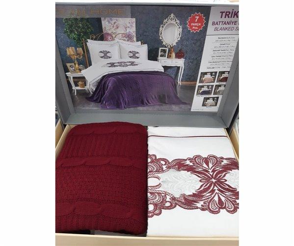 2 сп. Постельное Белье (7 пред.) с Вязанным Покрывалом 220x240 см ZEYD Home Triko Battaniye Set 7 parça