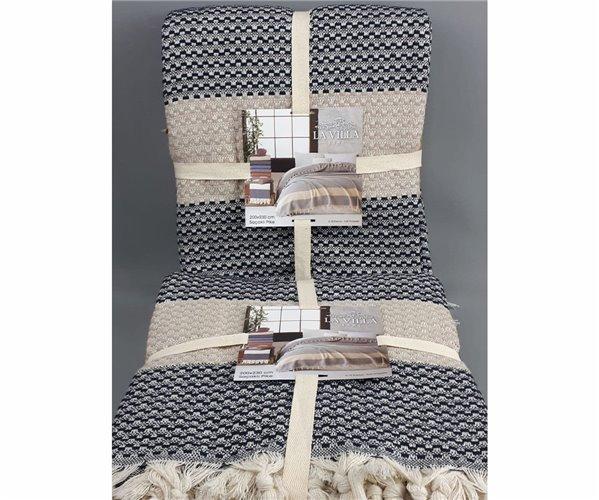 Летнее Покрывало Плетение Пике 220x230 см с Бахромой LAVİLLA Hasır Dokuma Pike