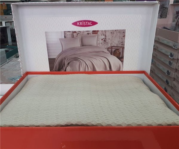 2 сп. Постельное Белье (4 пред.) с Вафельным Покрывалом 220x240 см Kristal Pike Takımı